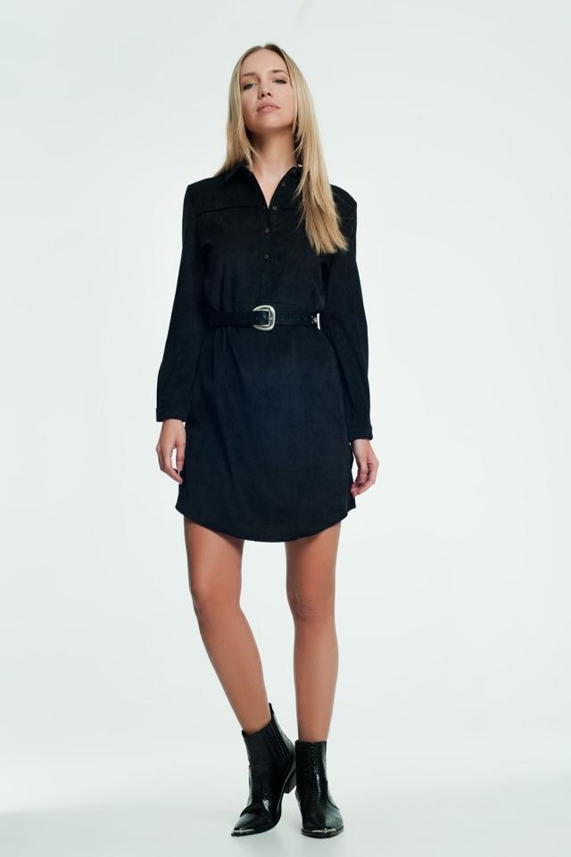 Black colored mini dress with button closure