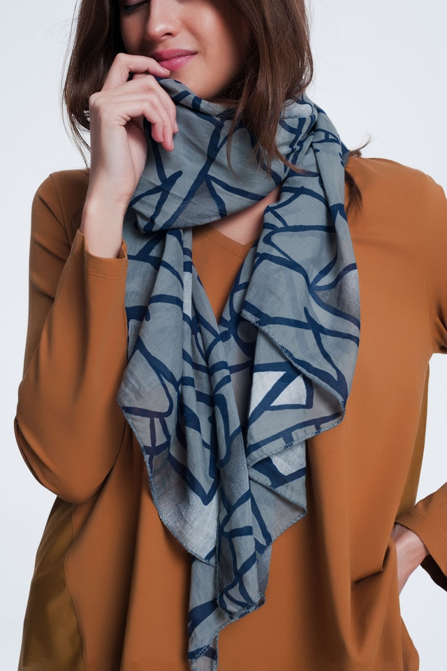 abstrasct print  dark grey scarf