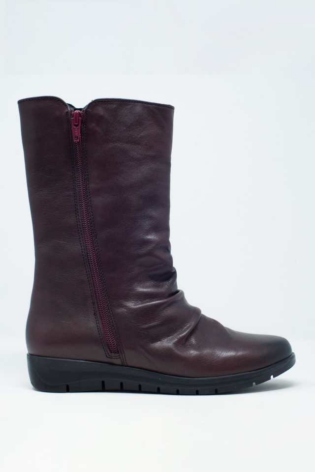 slouch calf length boot in maroon