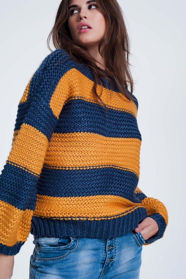 Mustard-colored sweater with stripes