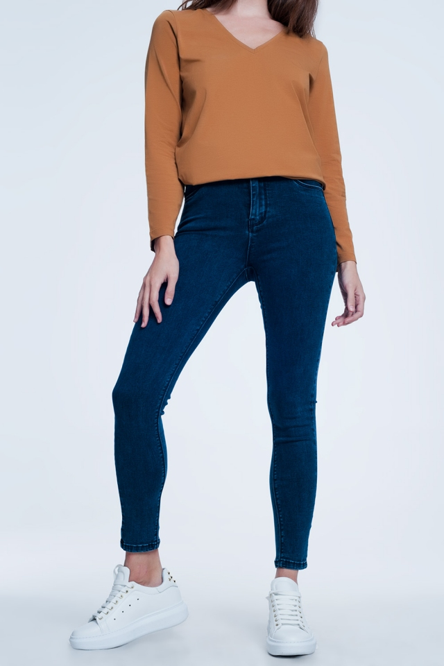 Navy blue skinny jeans with high waist