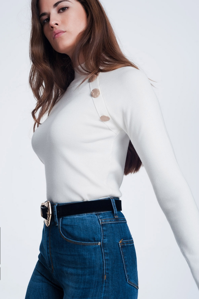 Sweatshirt with button detail in cream