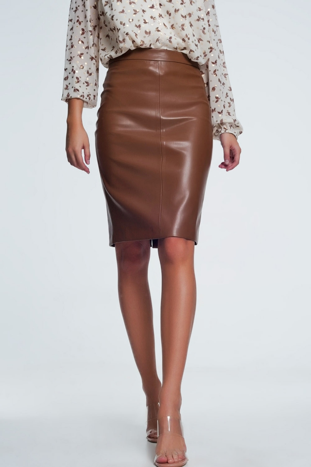 Brown Faux Leather Pencil Skirt