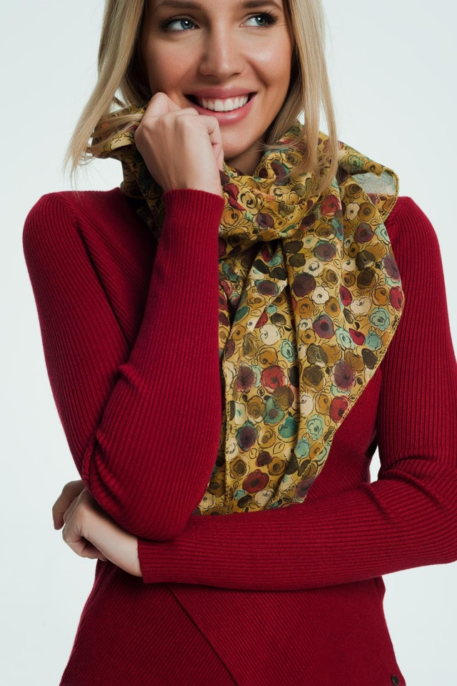 Patterned mustard coloured scarf