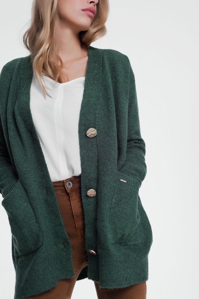 Green cardigan jacket long sleeves