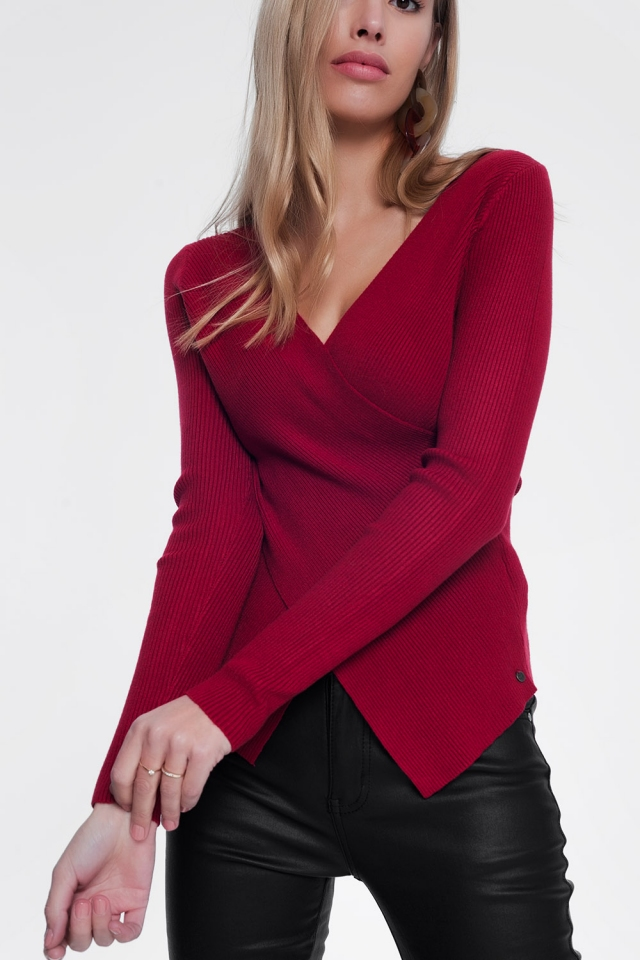 Maroon ribbed wrap sweater with v-neck
