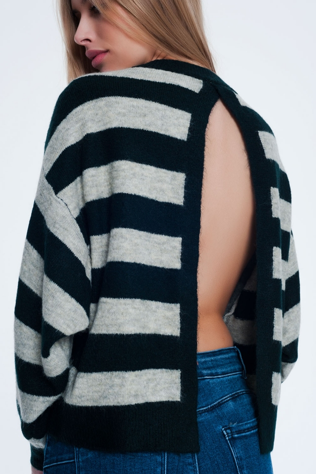 Green knitted sweater with grey stripes