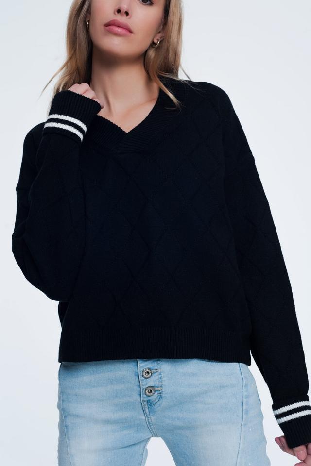 Black sweater with diamond pattern
