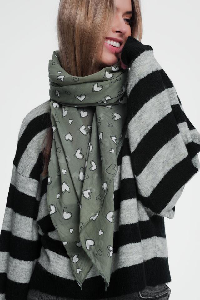 Khaki scarf with heart print