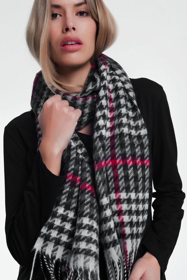 Black scarf with stripes pattern