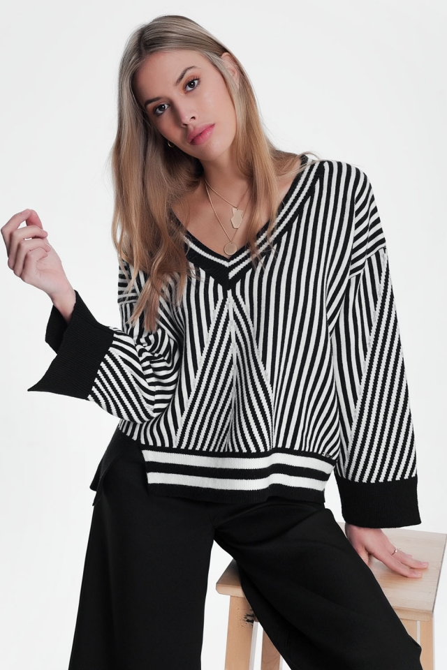Black oversized sweater with stripes
