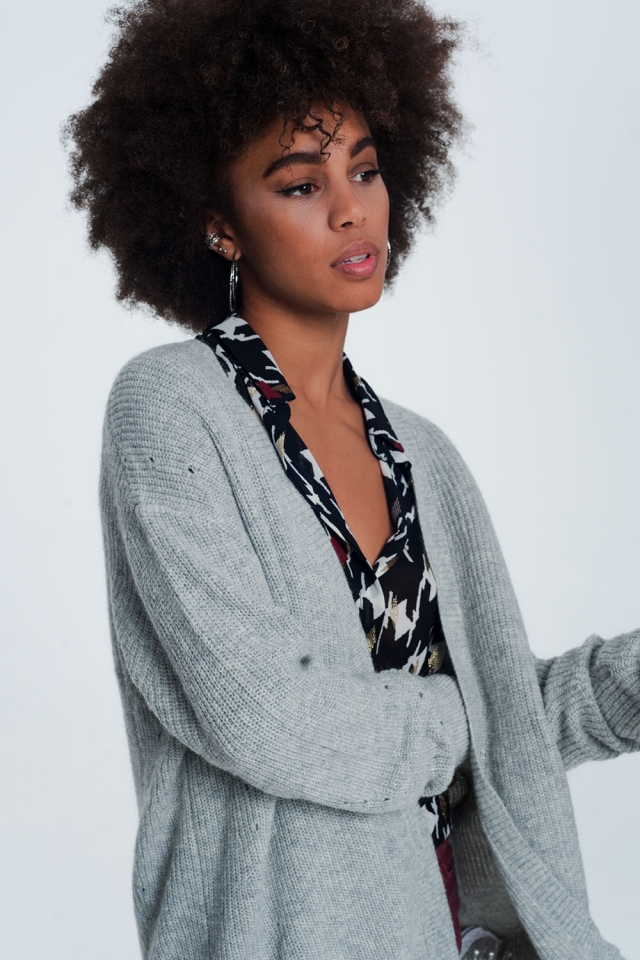 Gray angora cardigan with long sleeves