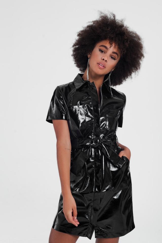 short sleeve pu utility mini dress in black