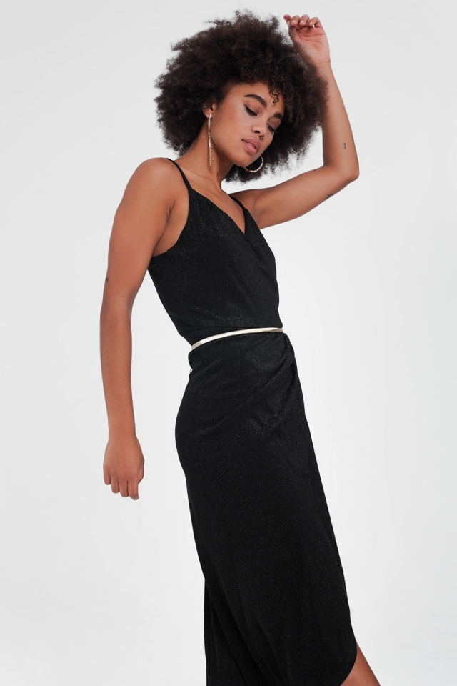 Black dress with straps and v-neck