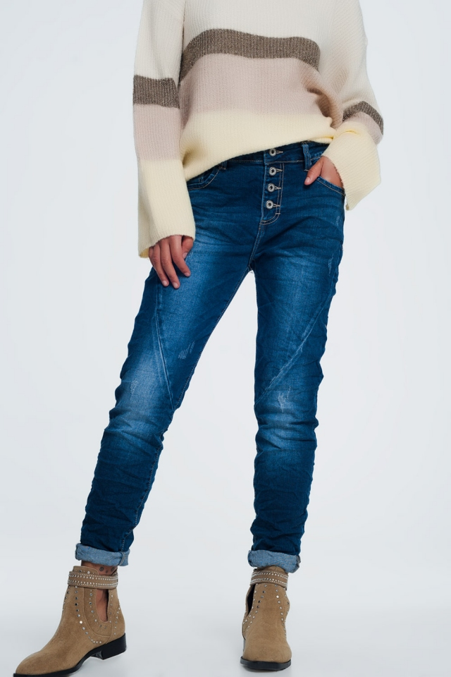 Denim coloured low rise jeans