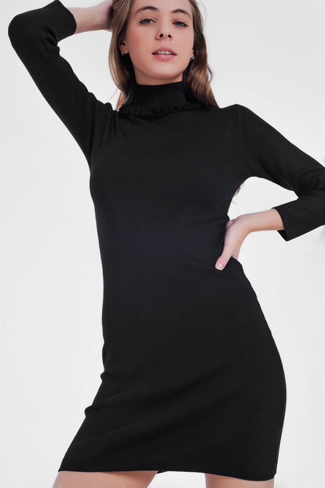Dress in black with detailed turtleneck