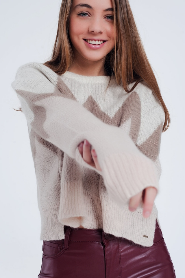 Oversized sweater in beige with pattern