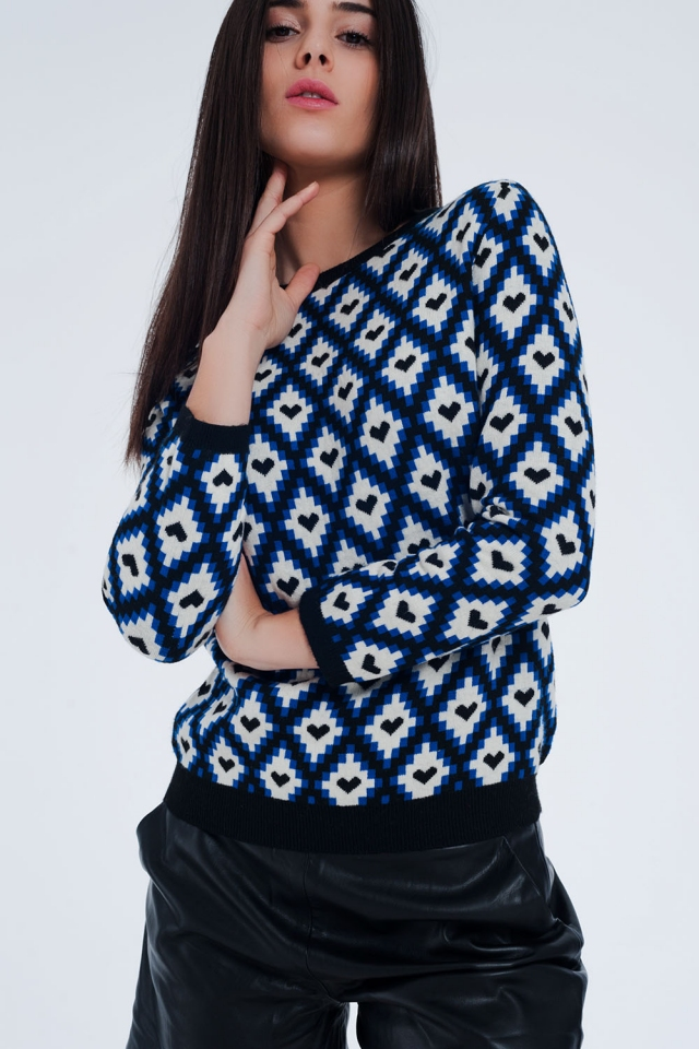 Blue sweater with diamond pattern with hearts within