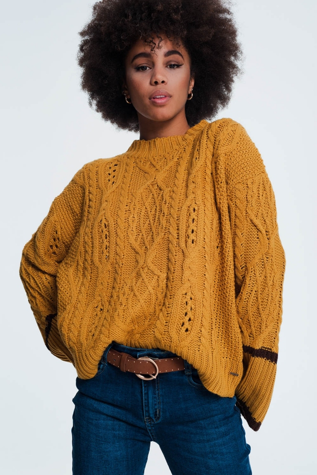 Thick knitted mustard coloured sweater