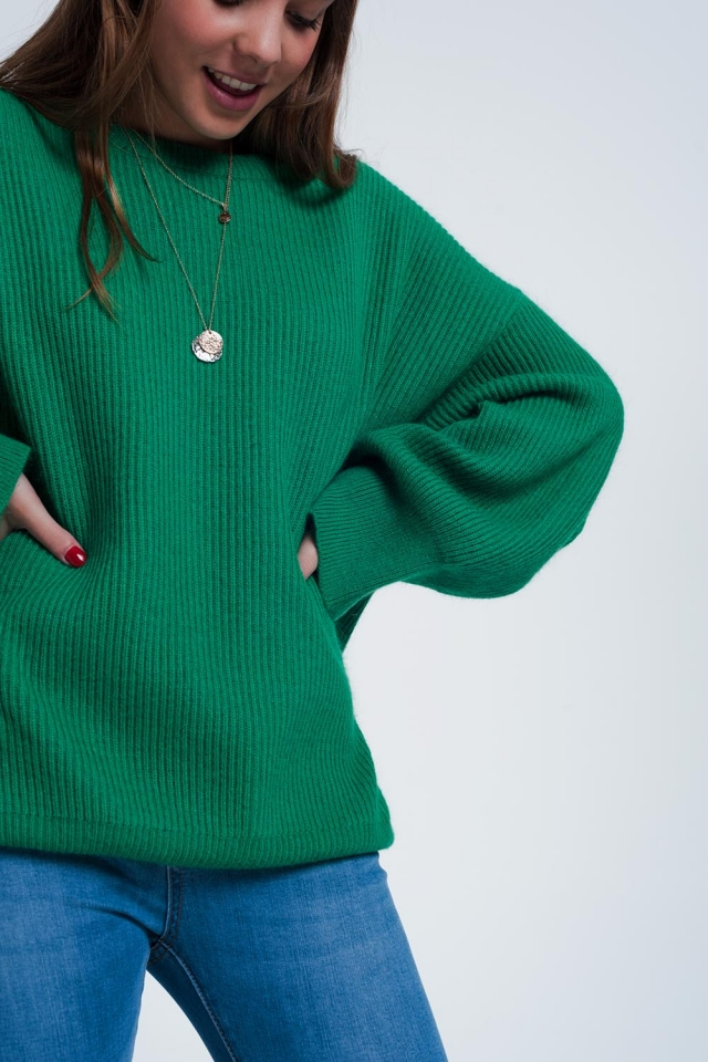 Green sweater with boat neck