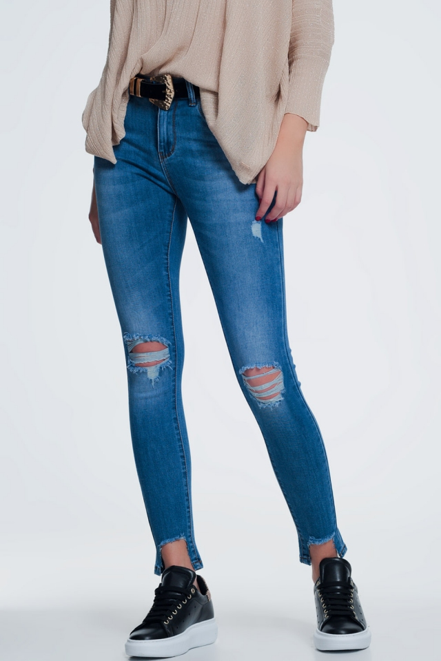 High waist super skinny jeans with ripped knees