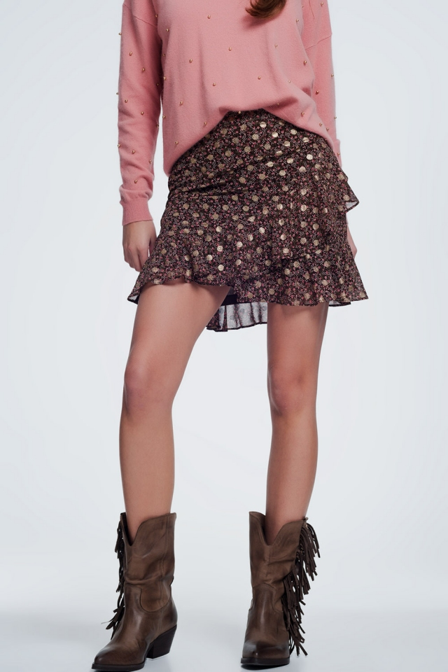Brown skirt with flower print