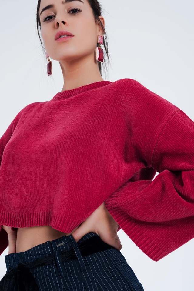 Flare sleeve sweater in fuchsia