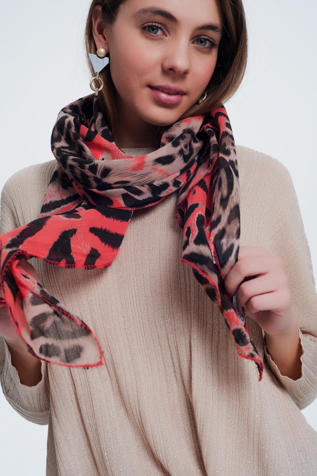 Red scarf with tiger print