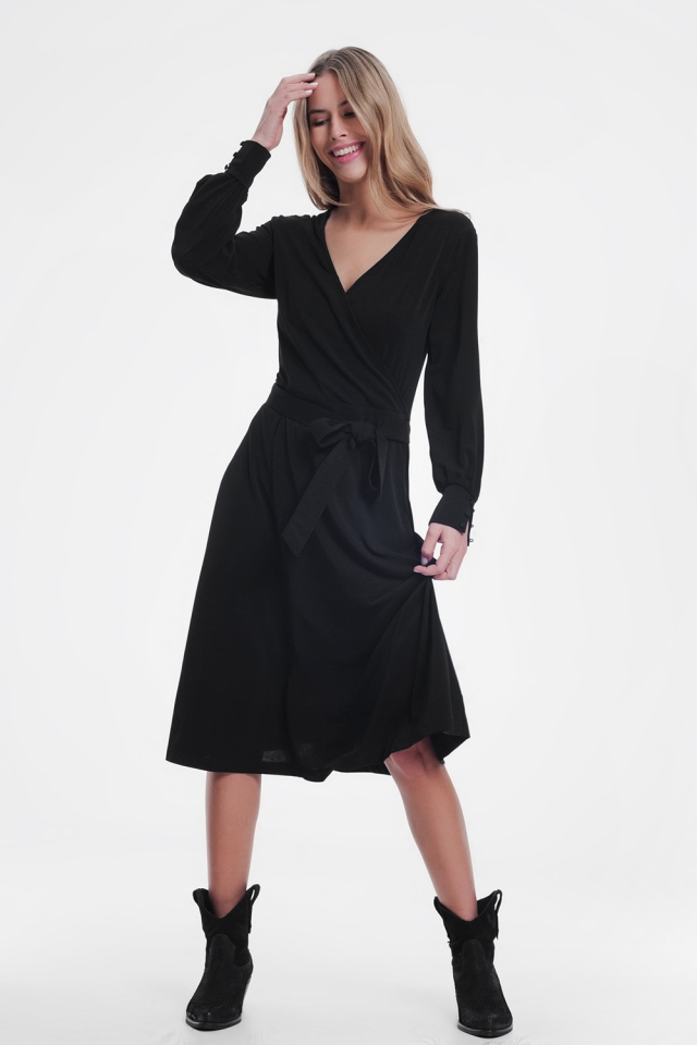 wrap midi dress in black color