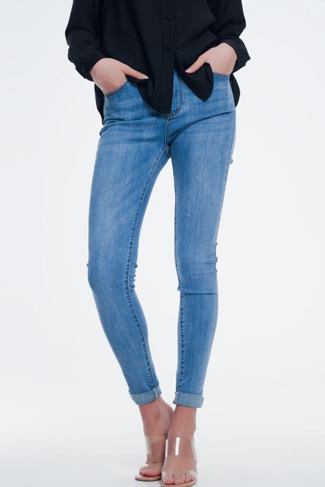 light denim high waisted skinny jeans