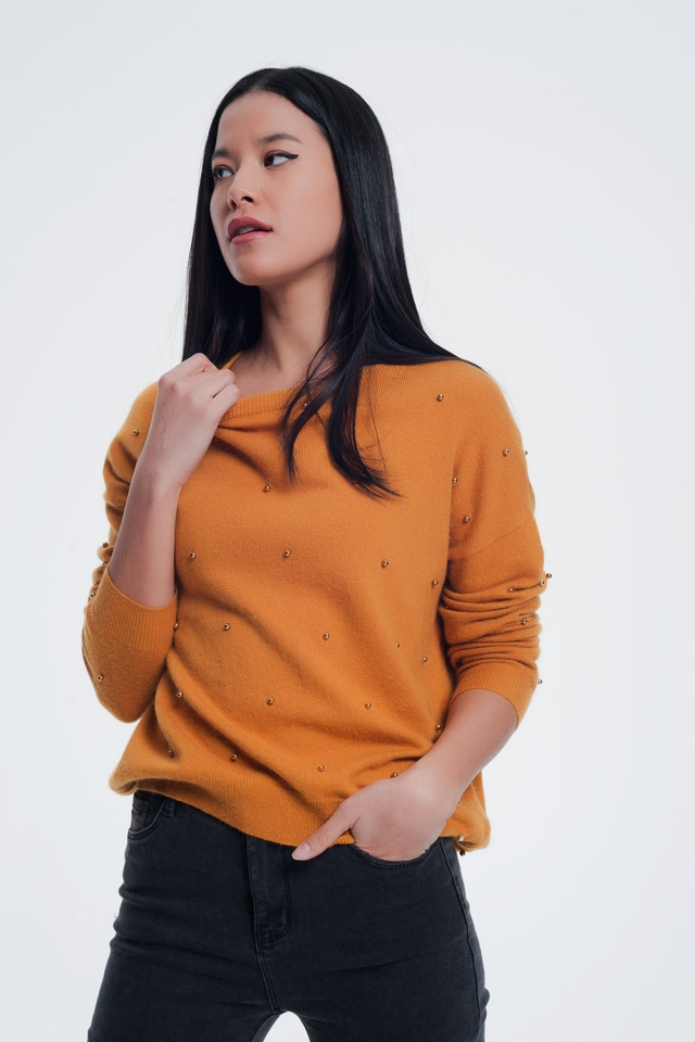Mustard sweater with boat neck and shiny bobbles