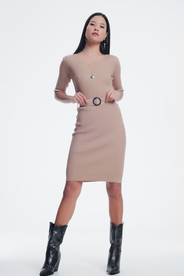 Beige dress with waistband