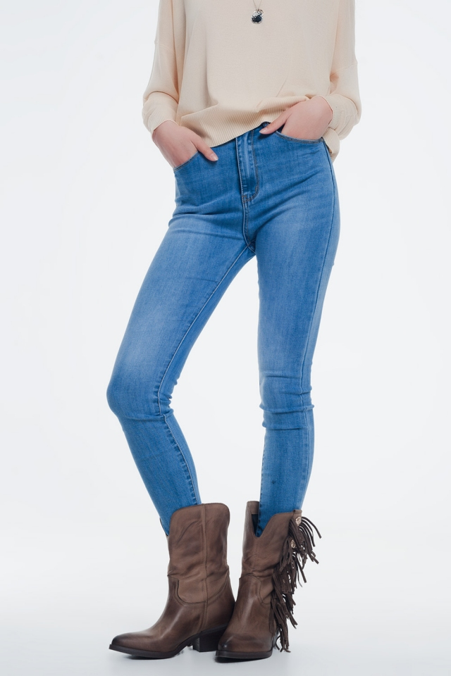 high waisted skinny jeans in light denim