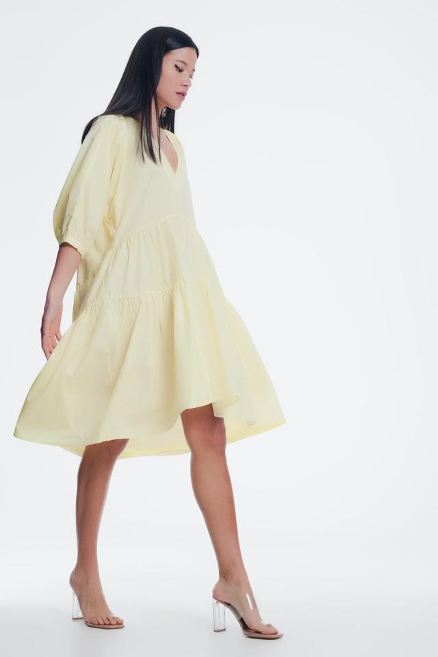 yellow midi dress with v neck