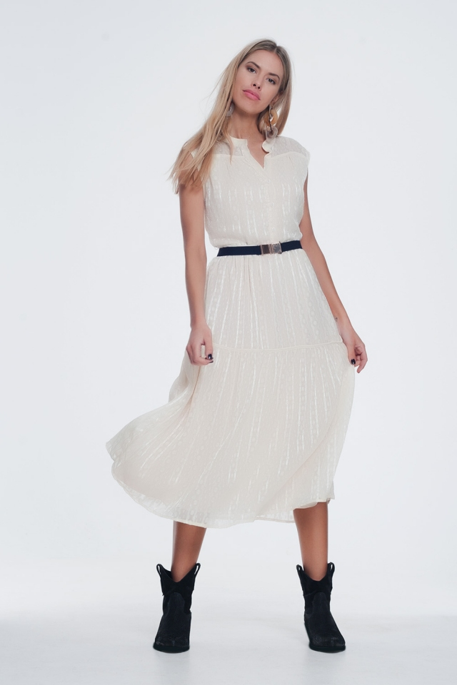 textured button through smock dress with tiered skirt in beige
