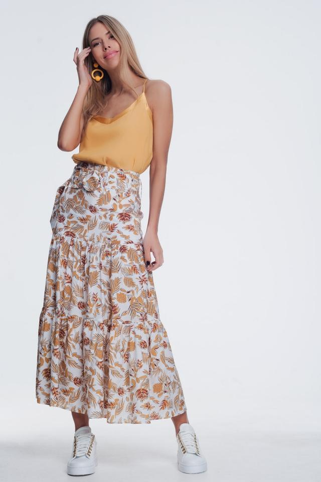 column midi skirt in jungle floral print