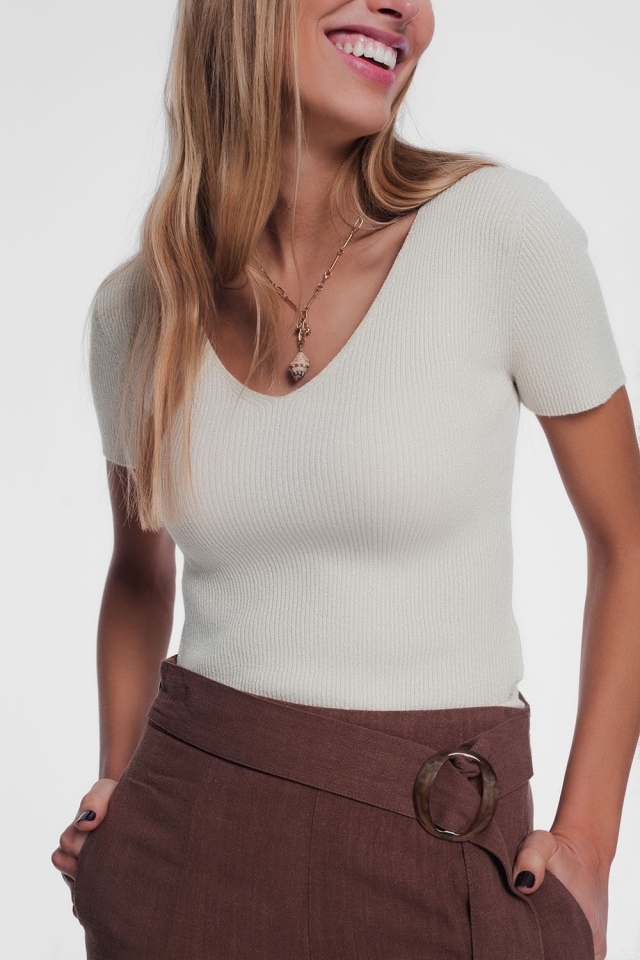 v neck short sleeve jumper in fine knit rib cream