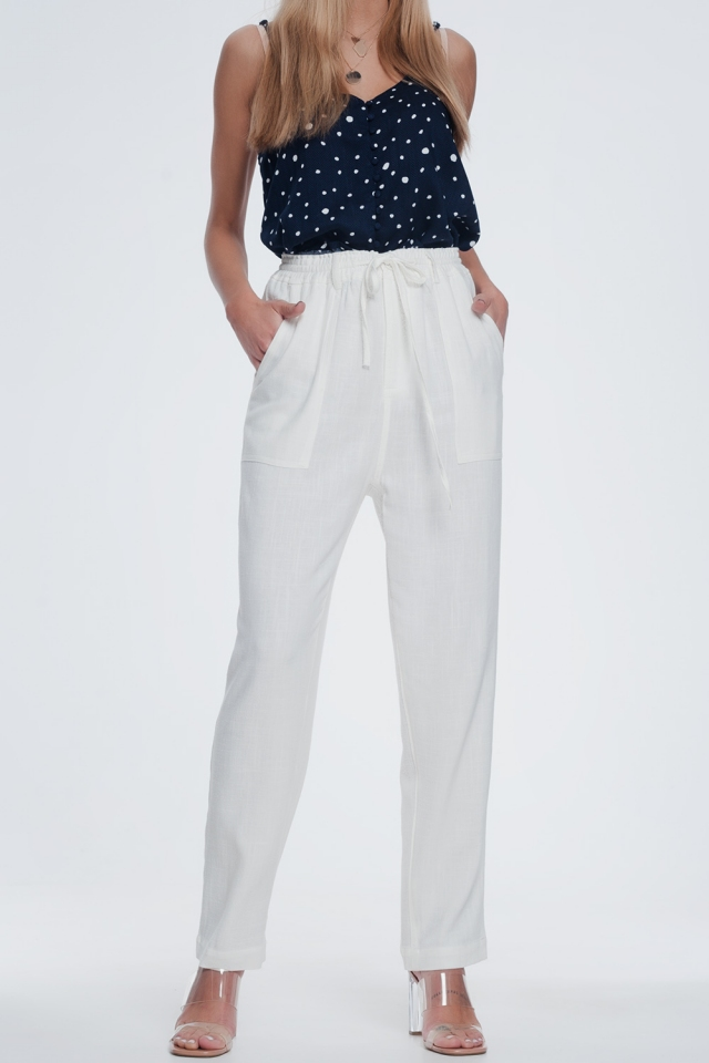 Cream pants with elastic waist