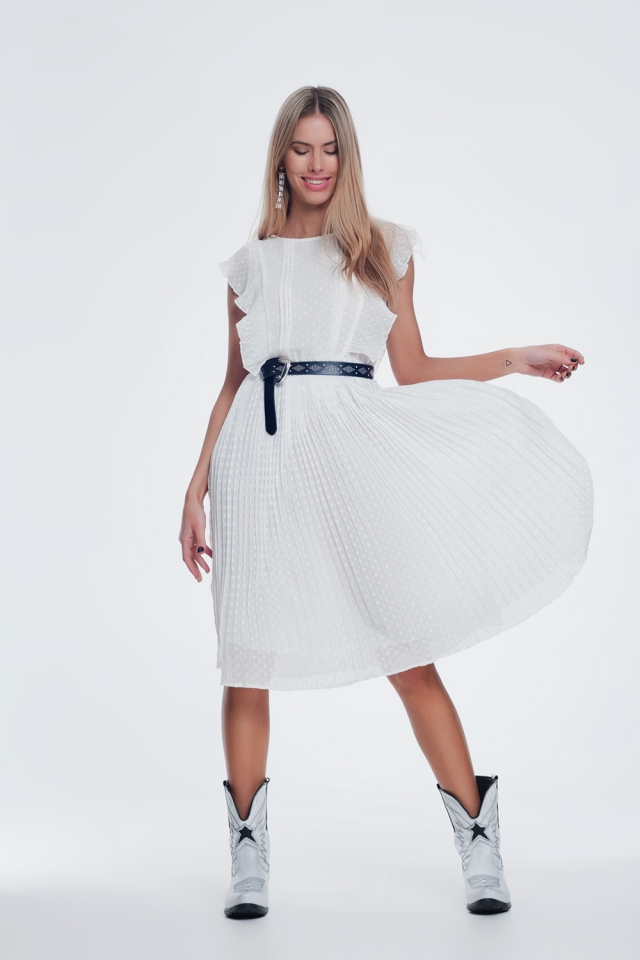 speckle midi dress with ruffle in white