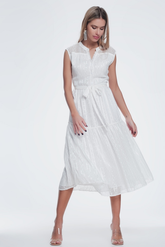 textured button through smock dress with tiered skirt in cream