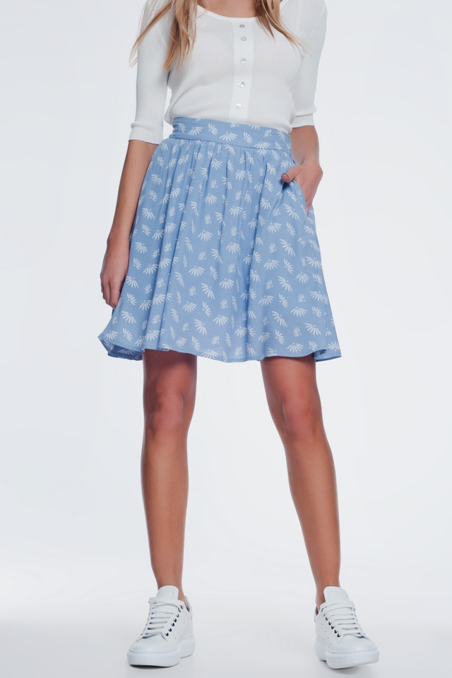 mini skirt in vintage floral in blue