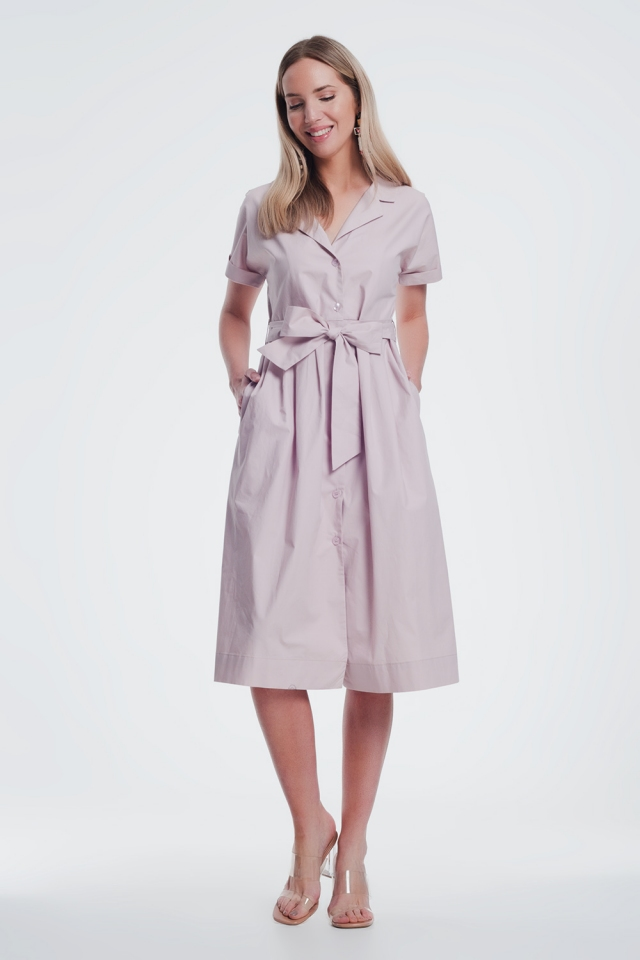 Pink shirt style dress with belt and short sleeve