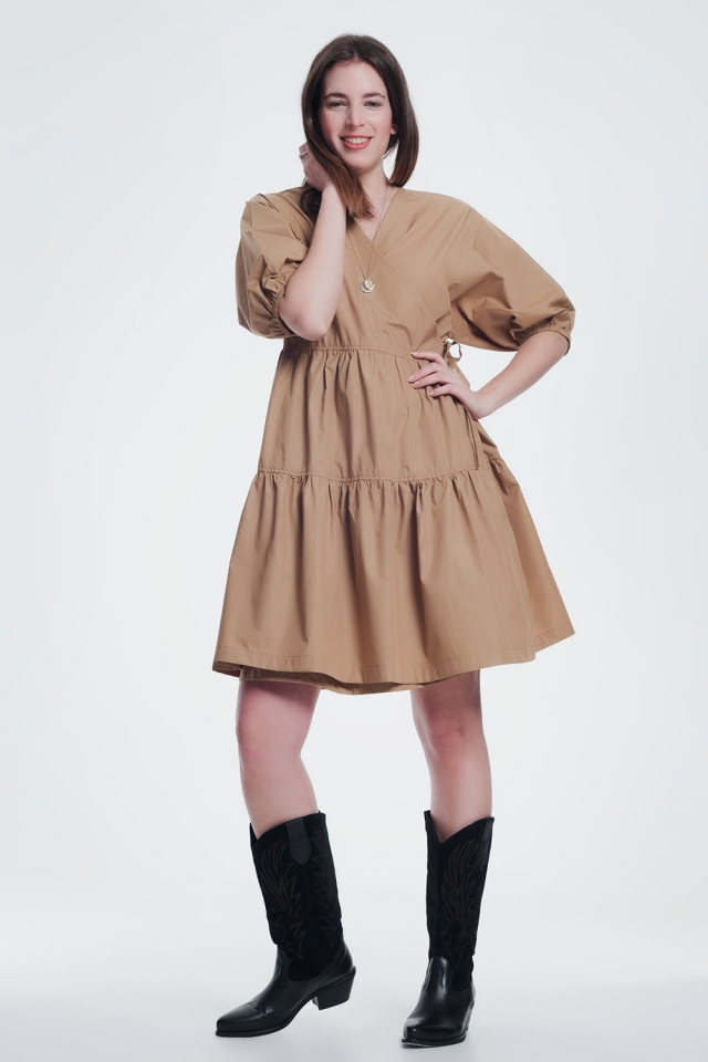 camel baggy mini dress with short sleeves