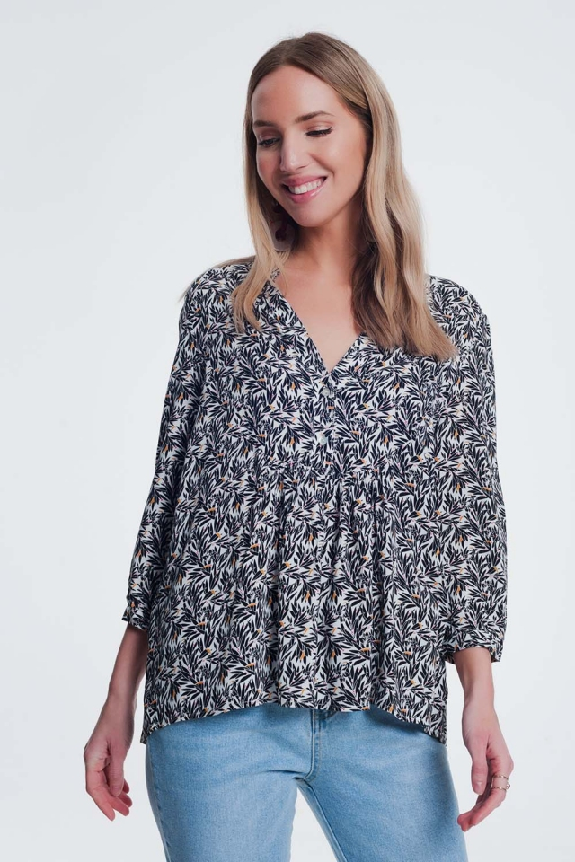 smock blouse in floral print