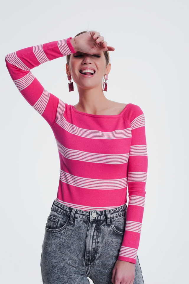Fuchsia striped sweater with boat neck