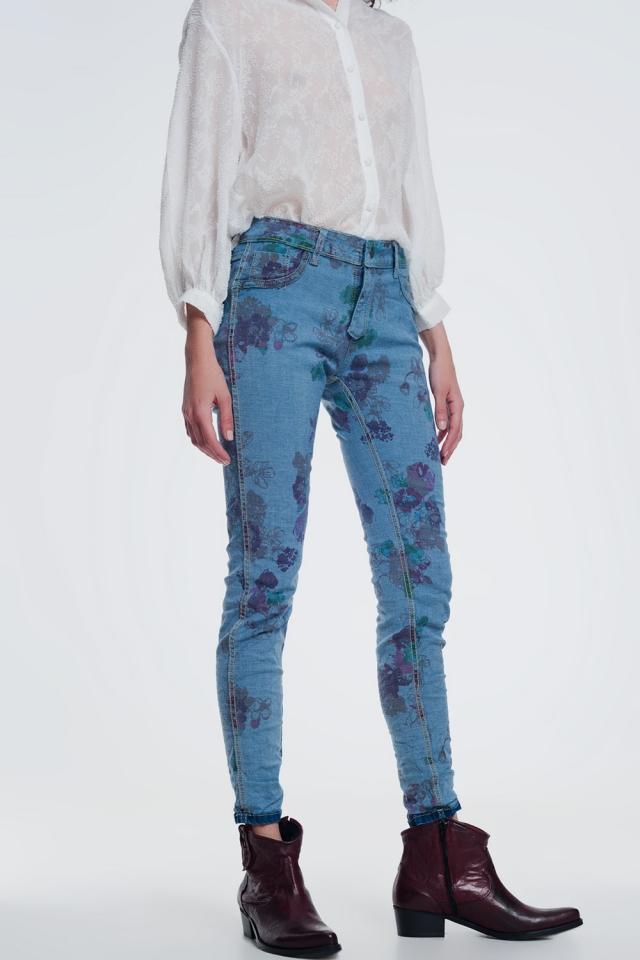 wrinkled denim skinny jeans