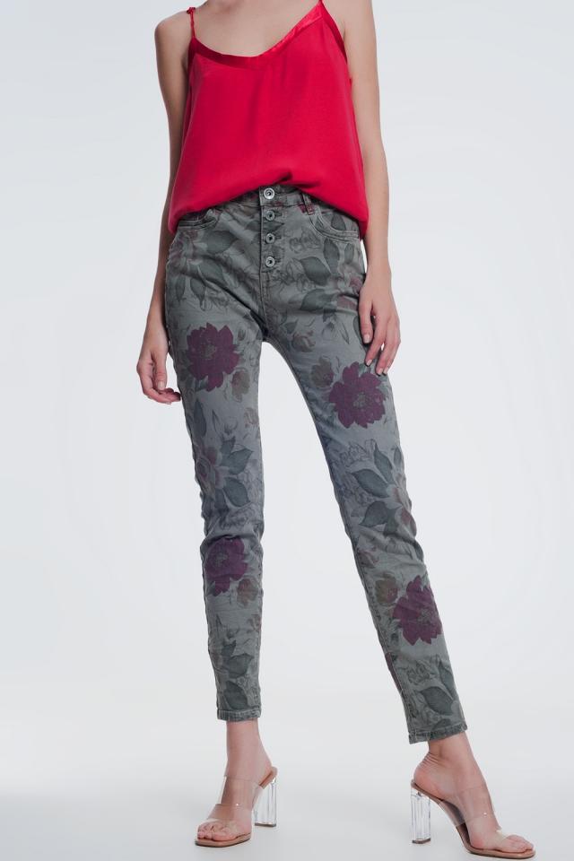 khaki boyfriend jeans with floral print