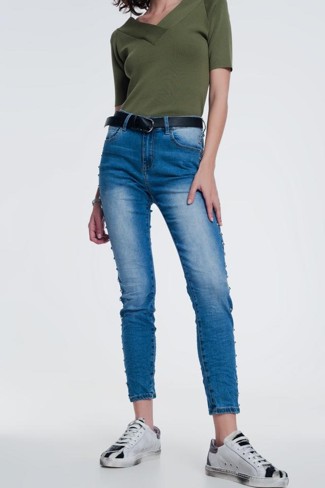 wrinkled denim studded jeans