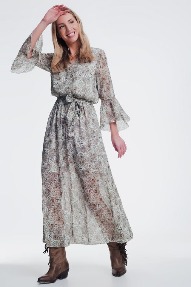 long sleeve midi dress in green pattern