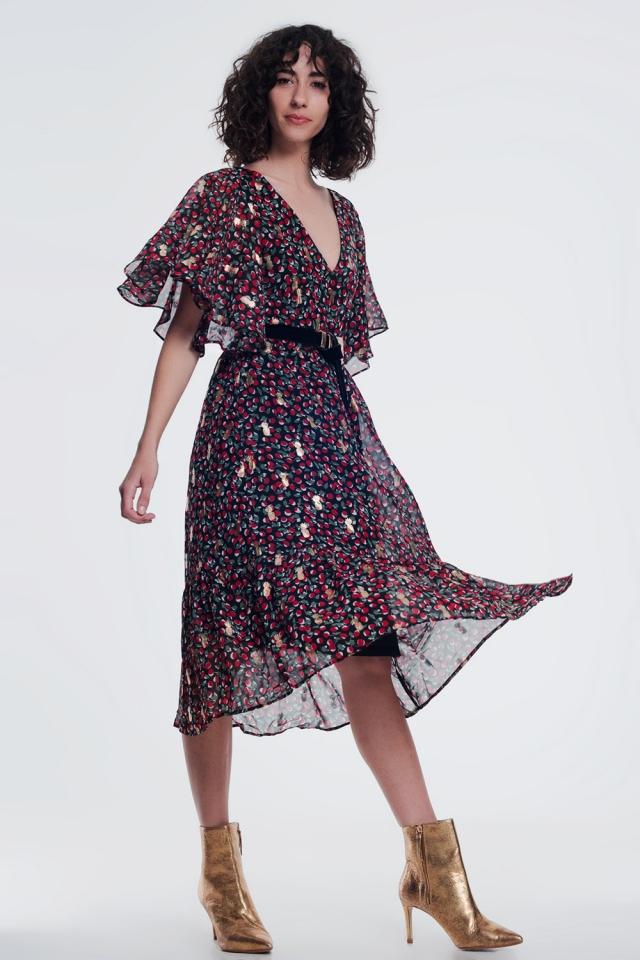 Black mixed print dress with v back